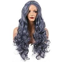 Smoky Blue Grey Drag Drag Queen Natural Hairline Pelucas delanteras del cordón sintético para las mujeres