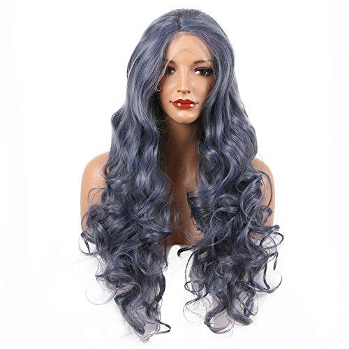Stahl Grau Perücke lange Hair Hitzeresistente Synthetik Lace Front Perücken für Drag Queen dunkelblau grau Farbe Haar gewelltes Kunsthaar Perücke natürlicher Haaransatz Mitte Parted 61cm
