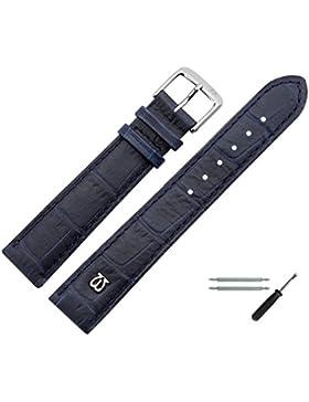 Uhrenarmband 20 mm Leder blau matt Prägung, Alligator - MADE IN GERMANY - inkl. Federstege & Werkzeug - Uhrband...