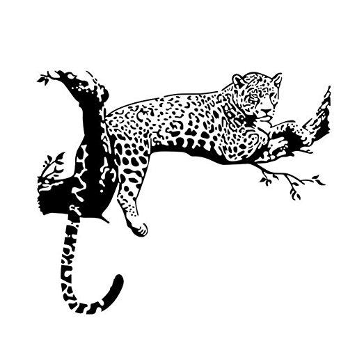 WandSticker4U- Wandtattoo LEOPARD in Schwarz | Wandbilder: 72x86 cm | Wandsticker Safari Afrika Savanne Tiere Wandaufkleber Baumzweig | Deko für Wohnzimmer Schlafzimmer Kinderzimmer Küche Flur GROSS