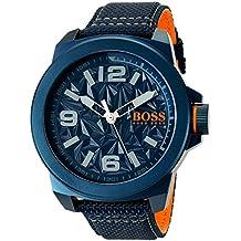 BOSS Naranja Hombre 'Nueva York' cuarzo resina y lienzo Casual reloj, color: azul (modelo: 1513353)