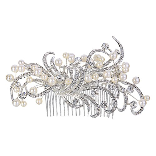 EVER FAITH Silver-Tone Austrian Crystal Ivory Color Simulated Pearl 5.5 Inch Floral Vine Hair Comb Clear N07248-1