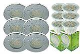 Trango 6er Set IP44 Einbaustrahler Rund incl. 6x LED Modul dimmbar nur 3cm Einbautiefe Bad Dusche (TG6729IP-068MD Chom)