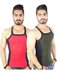 Zimfit Men's Gym Vest 112(Red_Green)