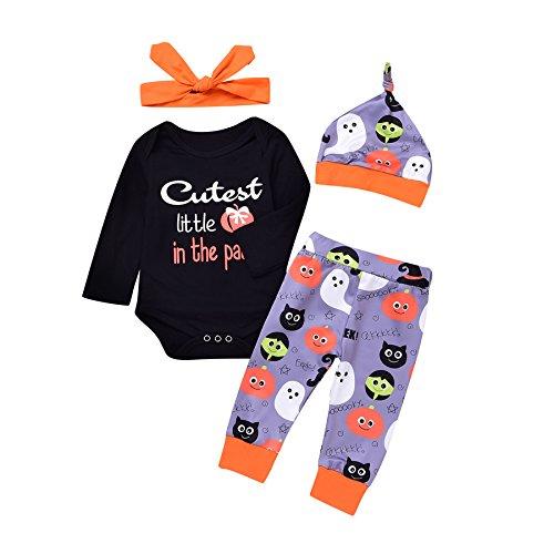 Funnycokid 4Pcs Infant Mädchen Jungen Halloween Geschenk Kostüme Sets Lange Ärmel Strampler Hosen Hut Stirnband Outfit Kleidung