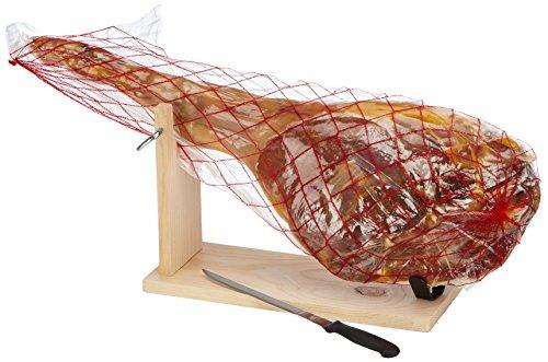 Klaas + Pitsch Jamon Serrano Schinken, inklusiv Schinkenhalterung und Messer, 1er Pack (1 x 6.5 kg)