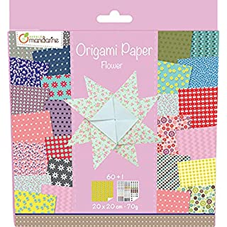 Avenue Mandarine Origami Paper, 20x20cm, 70g, 60 Sheets, Double Sided - Flowers