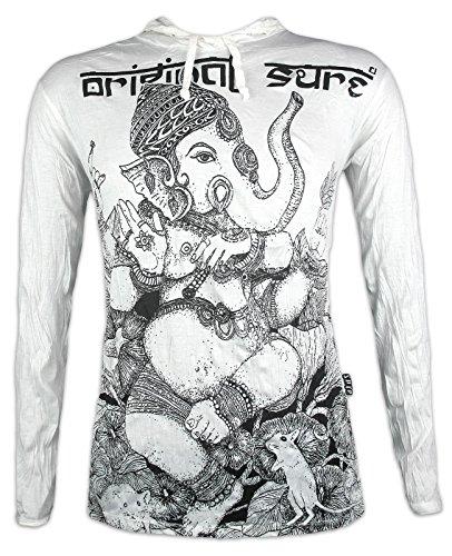 Sure Camiseta con Capucha Hombre Ganaphati - El Dios Elefante Talla M L XL India Hinduismo Buda Ganesha (M, Blanco)