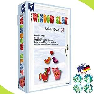matches21 Feuchtmann WINDOW CLAY Fensterdeko Knete Midi Box 300 gr. Fensterknete & Zubehör Set