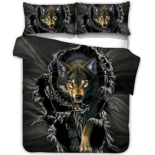 NTBED Kinder-Bettwäsche-Set für Einzelbetten, 3D-Bedruckt, Motiv Galaxie, Katze und Hund mit Reißverschluss, Einzelbett, 135 x 200 cm - Single (135x200cm,no Filling no Sheet) - Wolf -