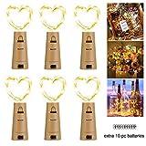 LED Flaschenlicht Lichterketten(6 Stück), 2M 20 Leds Weinflaschen Silbe Akku Korken für Party, Hochzeit,Weihnachten, Beleuchtung (warmweiß)