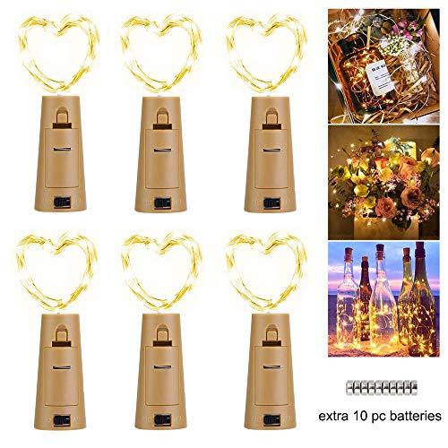 LED Flaschenlicht Lichterketten(6 Stück), 2M 20 Leds Weinflaschen Silbe Akku Korken für Party, Hochzeit,Weihnachten, Beleuchtung (warmweiß) (Klar, Christmas Lights Draht Grüne)