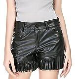AIVTALK Damen PU Leder Kurze Hosen Leder Optik Hotpants Elegante Übergröße Kunstleder Shorts mit Quaste Dekoration Schwarz