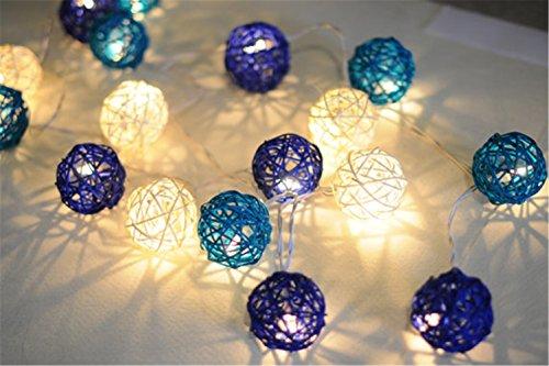ttan-Ball Lichterketten Weihnachten Warmweiß Batteriebetrieben [ Rattan Ball's Diameter:5cm/2.04 in ] Ideal für Hochzeit, Weihnachten, Party, Heim-Dekoration -- Blauer See (See Dekorationen)