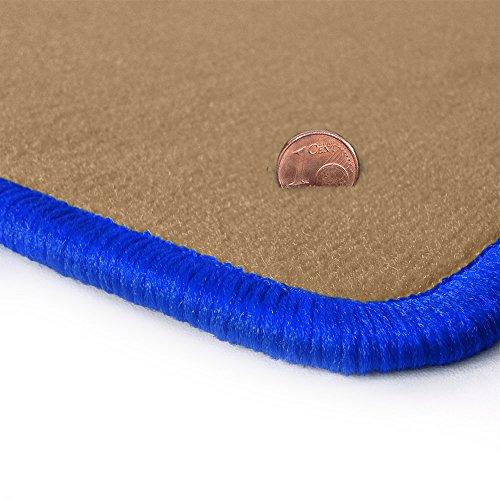Preisvergleich Produktbild Beige-farbene Velours Fußmatten mit Gummigranulat-Rücken, Randfarbe Royalblau OFM-Q308_R204_00080
