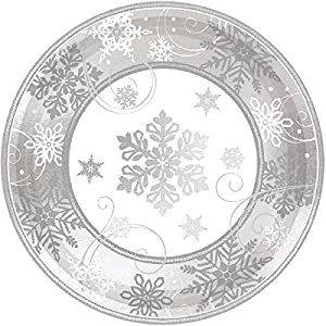 "Amscan International - 541559 placa papel 17,7 cm-printed""placa spklg copo de nieve met 7""""L"