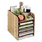 Schreibtischorganizer Holz, Aufbewahrungsregal Briefablage für A4 A5 Dokument, Unterlagen und Briefe, Aufbewahrungsbox Ablagesystem für den Schreibtisch
