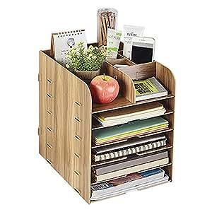 Afinder Stehsammler Zeitschriftensammler Schreibtisch Organizer Schreibtischorganizer Holz Manager Tisch Organizer B/üro Dokumente Zeitschriftensammler Office Zubeh/ör Ordnungsbox 6 F/ächer