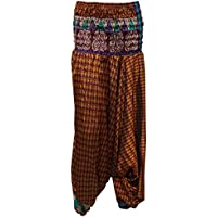 Mogul Interior Women's Yoga Jumpsuit Hippie Harem Pant Brown Vintage Sari Pants One Size