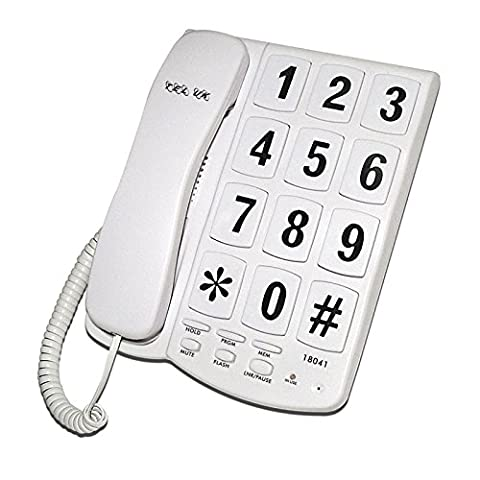 Big Button Corded Telephone Desk/Wall Mounted in White/Black (White)