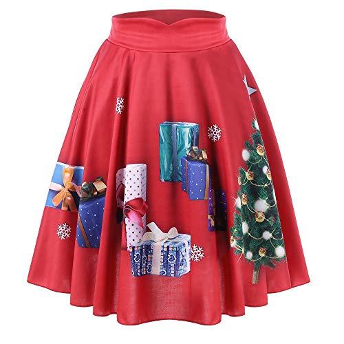 JiaMeng Damen Röcke, Frauen Weihnachten Print Knie Rock Flare Elastische Hohe Taille Cosplay Ballkleid Rock Casual Christmas Santa