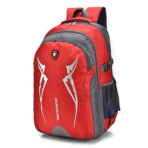 Grande capacità ricreazione Portable alpinismo zaino all'aperto arrampicata sportiva in viaggio escursioni equitazione Pack multifunzione studenti business doppio-spalla borsa 4Colors H52xW35xT25CM ,  Red