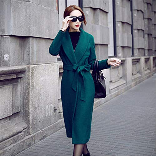 TJOIREJ Damen Mäntel Frauen Herbst Winter Umlegekragen Mantel Medium Lange Oberbekleidung High Dark Green Trench Coat Belted, Dunkelgrün, S -