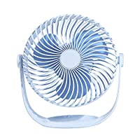 Kailya Mini Handheld Electric USB Fans Mini Portable Outdoor Fan Desktop 360 Degree Shaking Fan for Home and Travel Blue