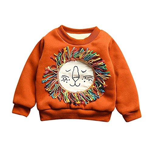 aMe Baby Jungen Zeichentrick Löwen Sweatshirt Lange ärmel Samt Warme Bluse Outfit Kleidung Für 6-36 Monate (Rot, 24 Monate) (12-monats-halloween-kleid)