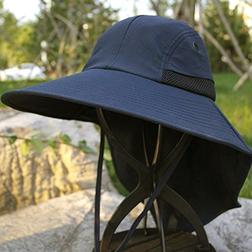 DMXY-Outdoor chapeau de soleil chapeau de soleil chapeau de soleil plage UV fisherman hat man fishing Hat Dark Blue