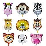 Folienballon Tiere, YIKE 9 Stück Tierkopf Luftballons, Luftballons Tiere Kindergeburtstag - Helium ist Erlaubt, Perfekt für Kinder Geburtstag Party Dekoration