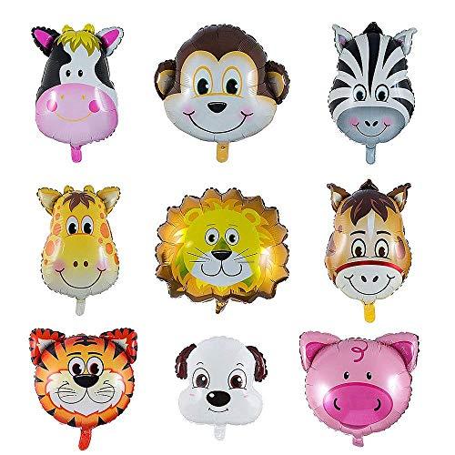 Folienballon Tiere, YIKE 9 Stück Tierkopf Luftballons, Luftballons Tiere Kindergeburtstag - Helium ist Erlaubt, Perfekt für Kinder Geburtstag Party Dekoration (Ballon-tiere Zu Machen)