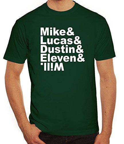 Mystery Herren T-Shirt mit Mike Lucas Dustin Eleven Will Motiv Dunkelgrün