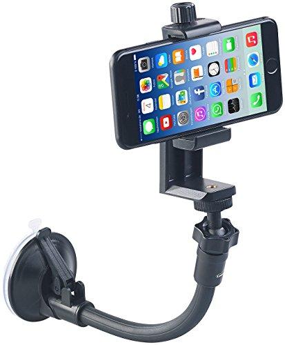 PEARL Kamerastativ: Flexibles Kamera-Stativ mit Saugfuß und Universal-Smartphone-Halterung (Handyhalter Auto Saugnapf)