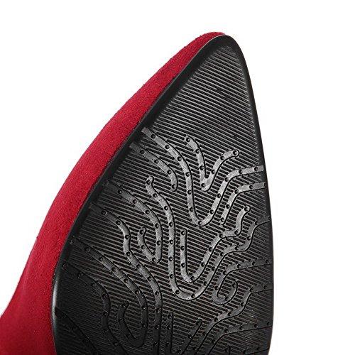 AllhqFashion Femme Stylet Couleur Unie Boucle Dépolissement Pointu Chaussures Légeres Rouge