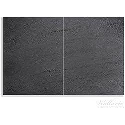 Wallario Herdabdeckplatte / Spritzschutz aus Glas, 2-teilig, 80x52cm, für Ceran- und Induktionsherde, Motiv Schwarze Schiefertafel Optik – Steintafel