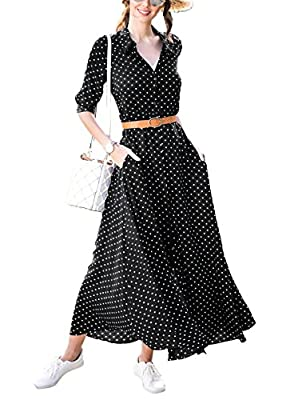 Elapsy Womens Polka Dot Long Sleeve Button Down Maxi Shirt Dress with Pockets