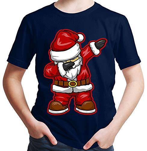 HARIZ  Jungen T-Shirt Dabbing Santa Weihnachtsmann Nikolaus Dab Teenager Dance Weihnachten Inkl. Geschenk Karte Deep Navy Blau 152/12-13 Jahre