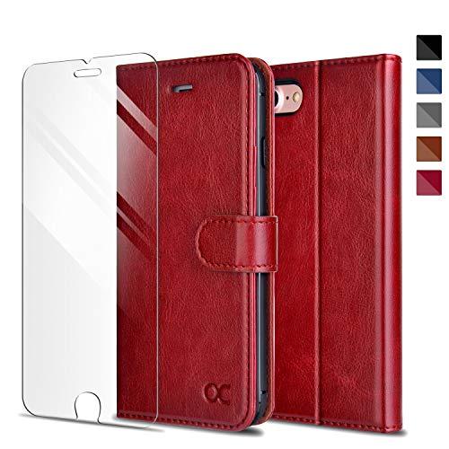 OCASE iPhone 7 Hülle Handyhülle iPhone 8 [ Gratis Panzerglas Schutzfolie ] [Premium Leder] [Standfunktion] [Kartenfach] [Magnetverschluss] Schlanke Leder Brieftasche für Apple iPhone 7/8