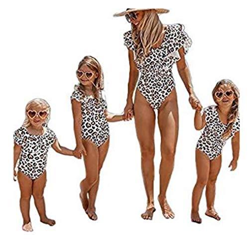 Eghunooye Damen Mädchen Leopard Rüsche Bikini Einteiler Badeanzüge für Mama Kind Bademode Strandmode Strandklidung (Kind, 7-8 Jahren)