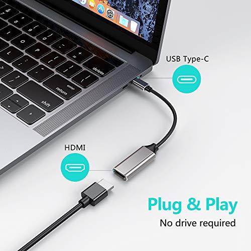 Adaptador USB C a HDMI 4K,  Adaptador USB Tipo C a HDMI,  Cable USB C a HDMI Compatible con Pad Pro,  MacBook Pro 2018/2017/2016, Mac,  MacBook,  Huawei,  Samsung,  etc. (Space Grey)