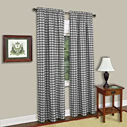 Achim Home Furnishings Buffalo Check Window Curtain Panel, Black/White, 42 x 84-Inch