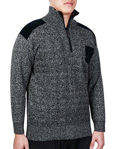 BELLOO Herren Troyer Strickpullover Fleecepullover Stehkragen mit Reißverschluss geeignet für Outdoor Sprot, Arbeit und Freizeit im Winter Beige