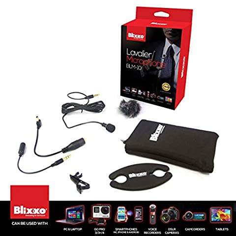Professional lavalier lapel Microphone / Omnidirectional Condenser mini hands free stereo microphone/includs a full set of black wind muff for indoor background noise cancelling & fuzzy windscreen for outdoor + a compact carry case + silicon cable roller to adjust to the perfect size you want + TRRS 3.5mm connector +TRS adapter +mini USB adapter / can be used on PC & smartphones voice recorder zoom H1 camcorders and external Gopro microphone on gopro Hero 3/3+/4 Dslr cameras