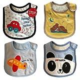 JT-Amigo 4er Set Baby Jungen Lätzchen, Baumwolle, Wasserdicht, verschiedene Motive
