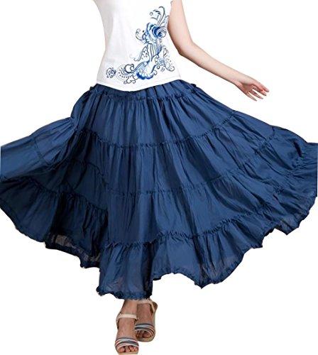 CoutureBridal® Damen Sommer Rock Frühjahr Maxirock Langrock Bohemia Baumwolle Jeans Bleu
