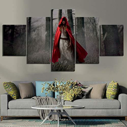 Mxsnow 5 Leinwanddrucke Rahmen Wandbilder Wohnkultur Leinwandbilder Frau im roten Mantel Bilder druckt Plakate Schlafzimmer Drucke auf Leinwand