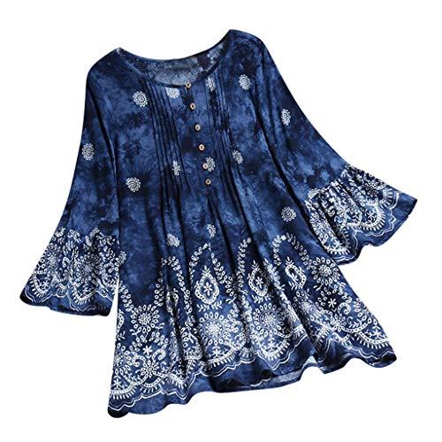 Floweworld Damen Plus Size Ethnic Print Bluse 3/4 Bell Ärmel Vintage Plissee Top lose lässige T-Shirt Plus Gratis Shaker