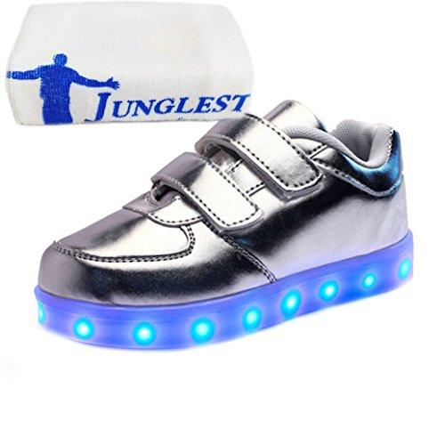 [presente:piccolo asciugamano]argento eu 35, di sneakers luminoso led ricaricabile studenti luce a bambini scarpe maniera fino junglest® glow s