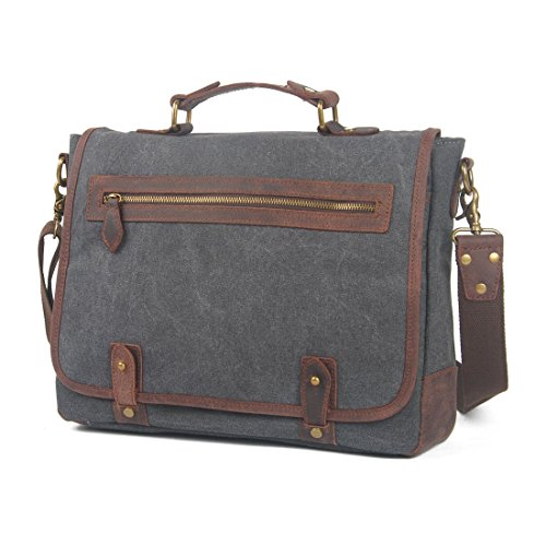 VRIKOO Unisex Vintage Canvas Genuine Leather Shoulder Messenger Bag Laptop Bag Briefcase Grigio Scuro
